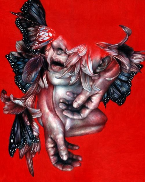 """Martyr"" 2014, colored pencils on paper, cm 50x40  ""IMMUNE"", On view: November 8th – November 29thThinkspace Gallery"