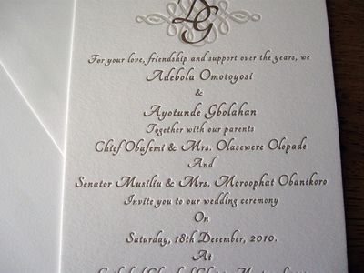 Gold and cream letterpress wedding invitation Very regal Our