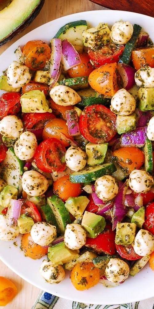 Avocado Salad with Tomatoes, Mozzarella, Basil Pesto - Julia's Album