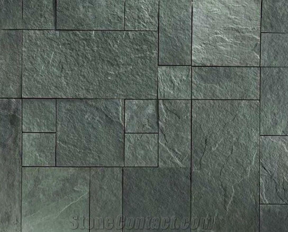 green slate flooring tiles