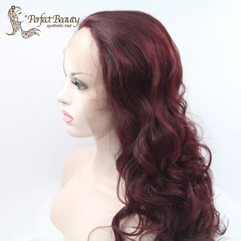 (Buy here: http://appdeal.ru/1bqz ) Cosplay Wig Wine Red Long Wavy No Bangs Synthetic Lace Front Wig Heat Resistent Anime Cosplay Lolita Party Cheap Good Quality for just US $70.00