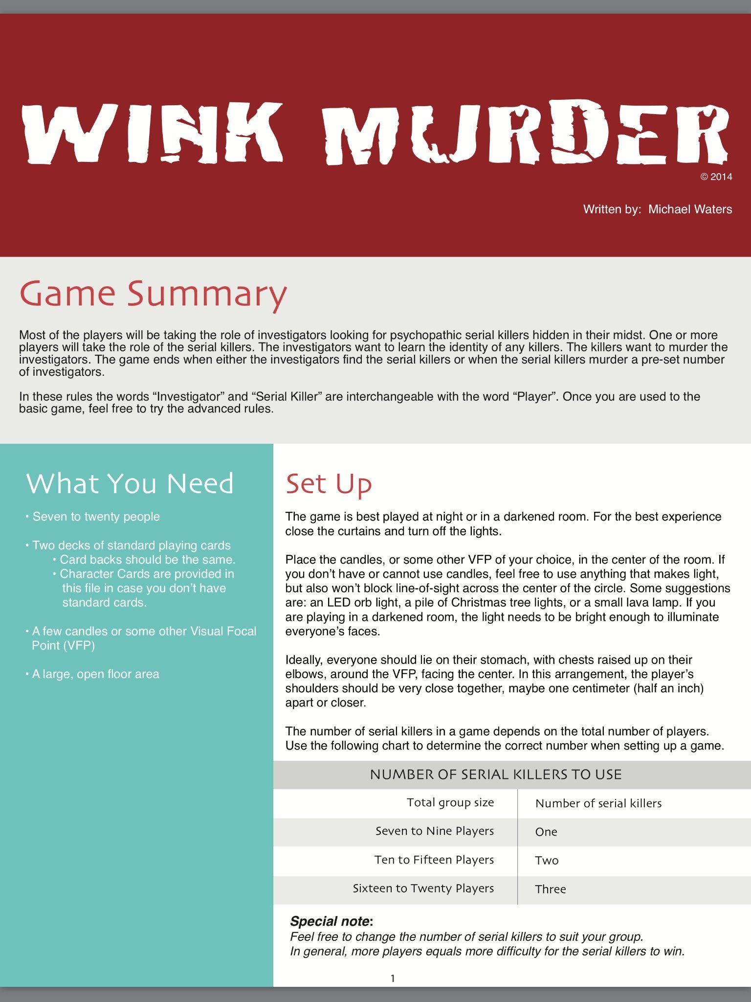 WINK MURDER / Party Game / Rules / PDF / Digital Download / | murder ...
