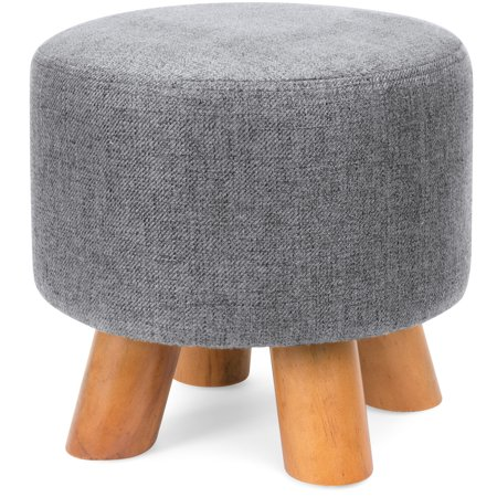 Best Choice Products Upholstered Padded Pouf Ottoman Footrest Stool W Removable Linen Cover Non Skid Legs Gray Walmart Com Foot Rest Ottoman Pouf Ottoman Ottoman