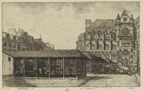 Marché rue des Prouvaires, 1853 | Dessin p. A. Potémont