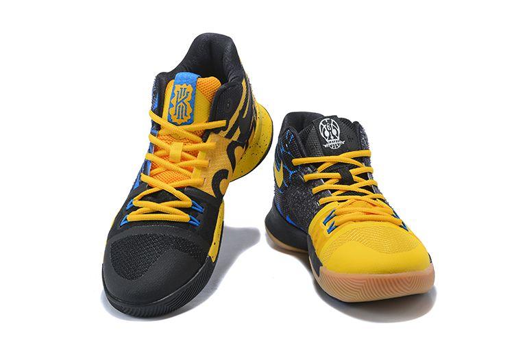 "8643ba7b54e2 Nike Kyrie 3 ""What The"" University Gold Blue Glow-Black For Sale ..."