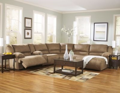 Tan leather sectional recliner couch chaise lounge and coffee