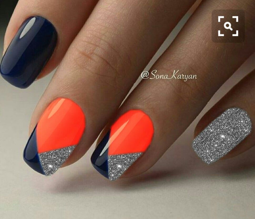 Orange Nails, Black Nails, Fingernail Designs, Diamond Nails