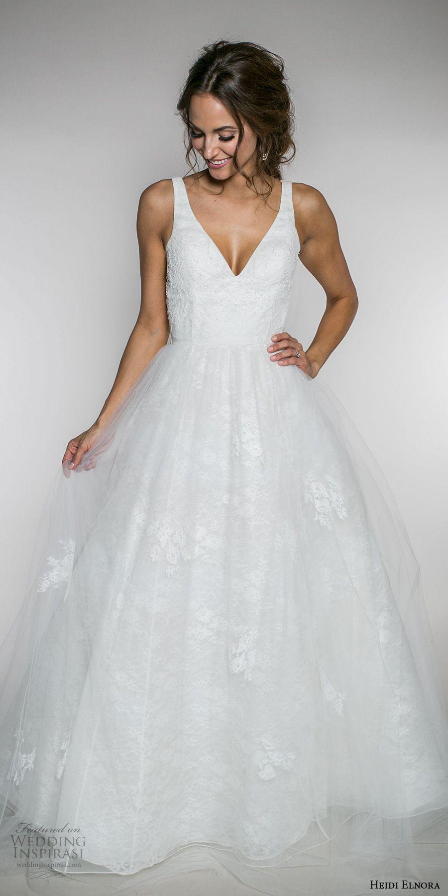 Heidi Elnora Fall 2017 Bridal Sleeveless Strap V Neck Light Embellished A Line Wedding Dress Low Back Sweep Train Emma Rose Mv