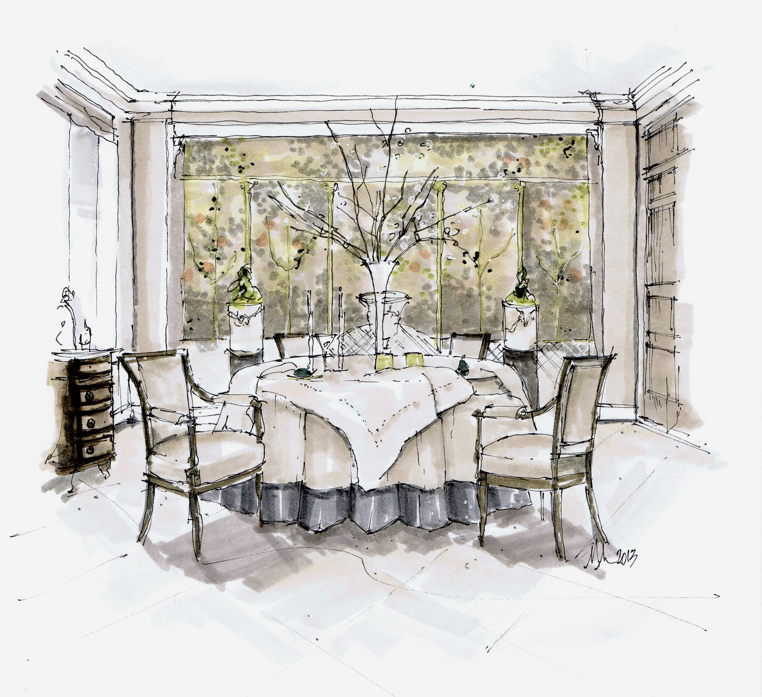John Saladino Dining Room Sketch Inspirations Interior Rendering