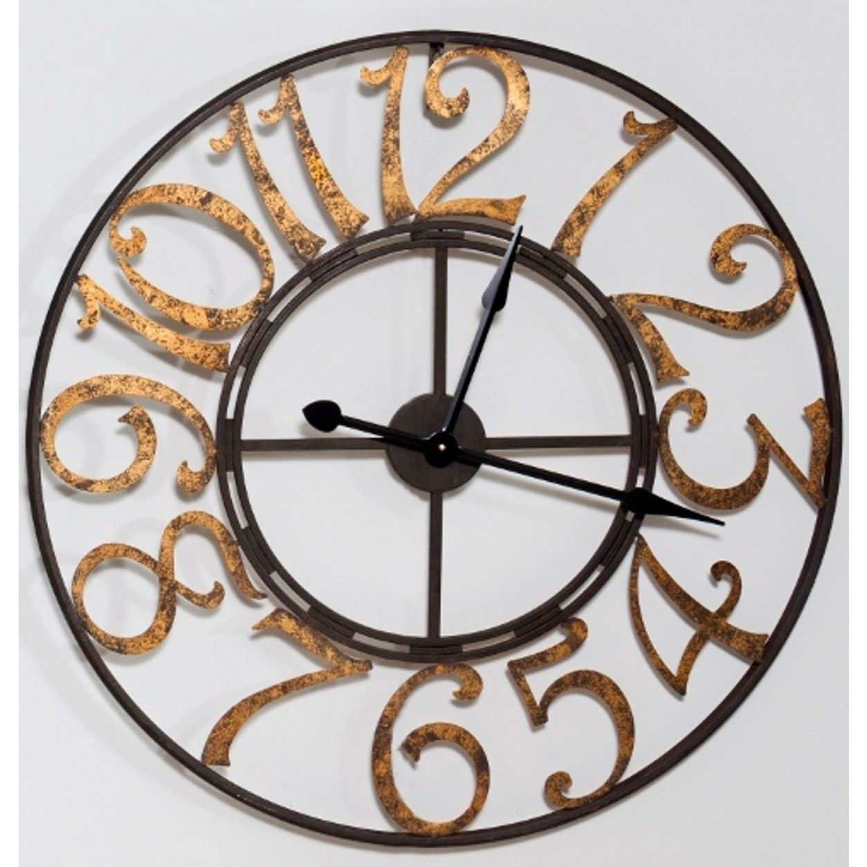 Large Metal Wall Clock Black With Gold Numbers PC