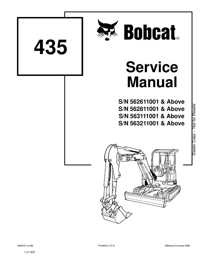 Bobcat 435 Excavator Service manual SN 563211001 & Above