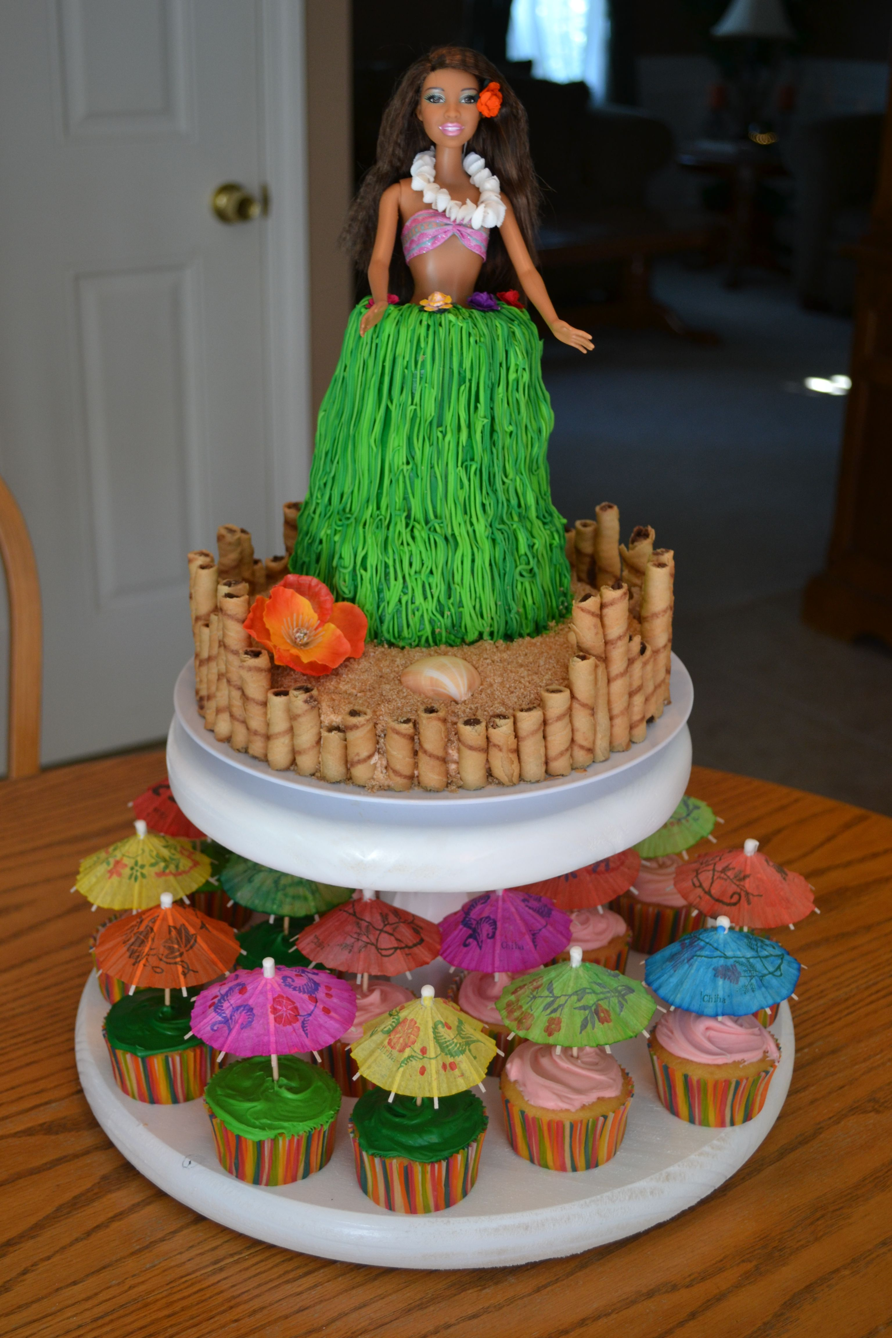 Luau Themed Birthday Party Get A Barbie Put A Hula Skirt On Her