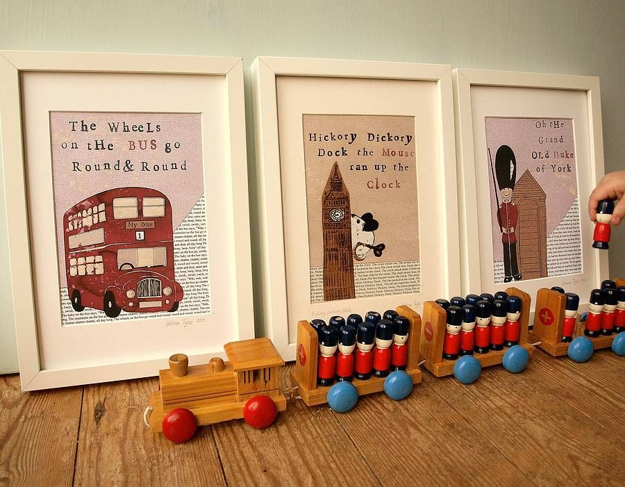 Set of three london nursery art prints by helena tyce designs notonthehighstreet com