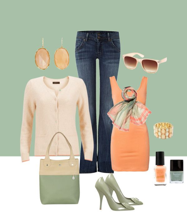 """Peach and sage"" by peridotpixie on Polyvore"