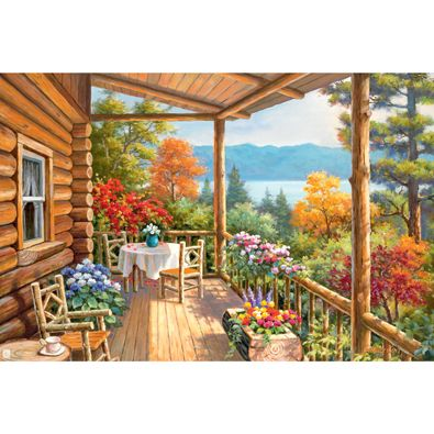 New Puzzles Log Cabin Covered Porch 1000 Piece Jigsaw Puzzle Art Painting Landscape