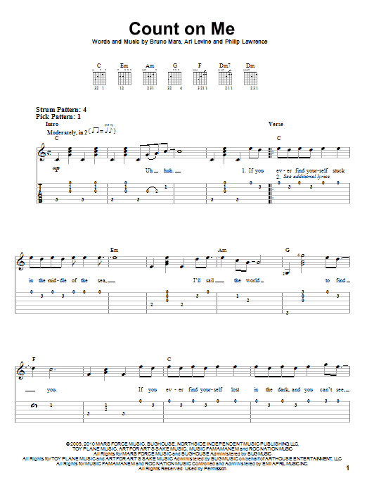 Bruno Mars Count On Me Easy Guitar Tab Music Teaching