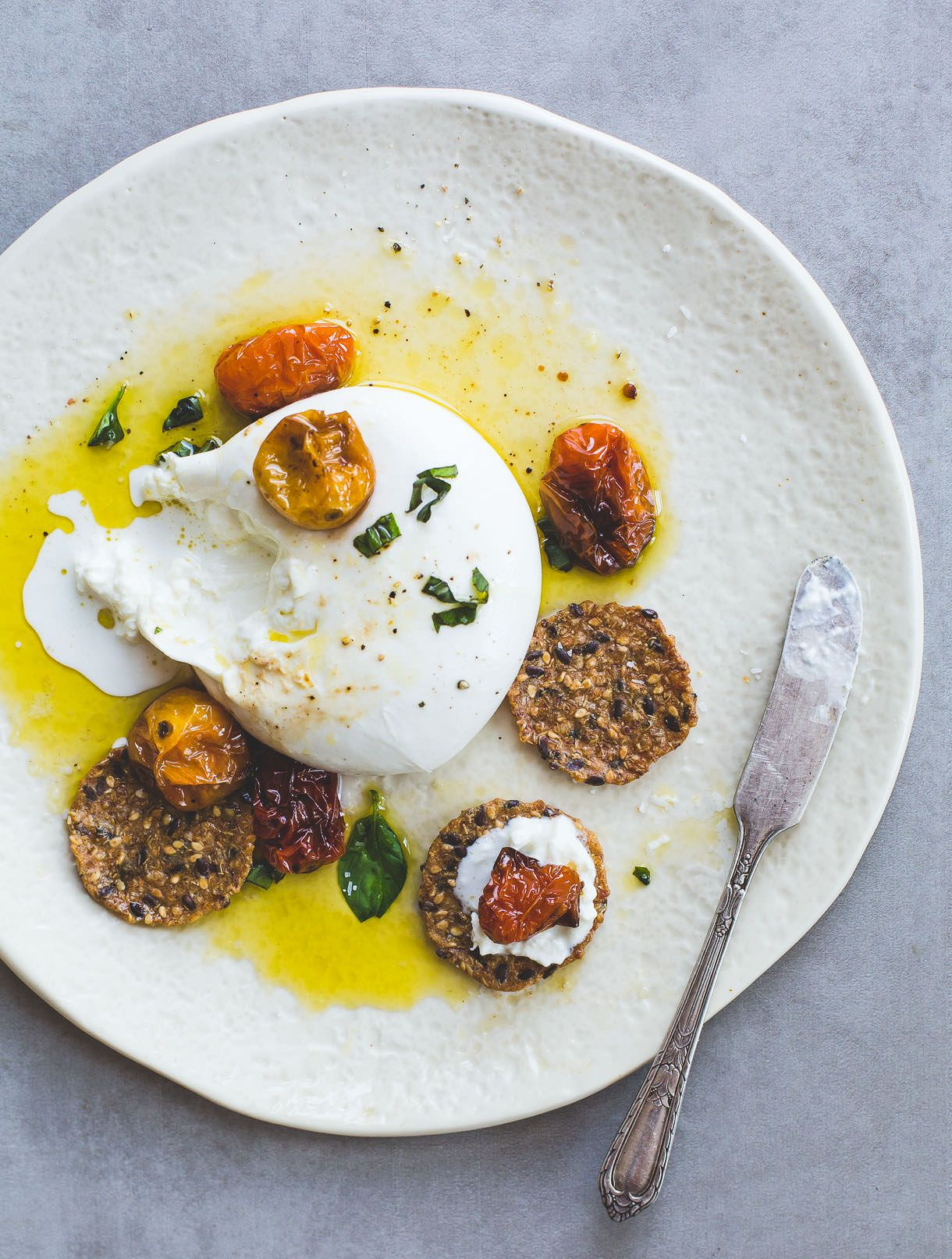 Creamy Burrata Cheese with Slow Roasted Tomatoes & Olive Oil -- low carb appetizer