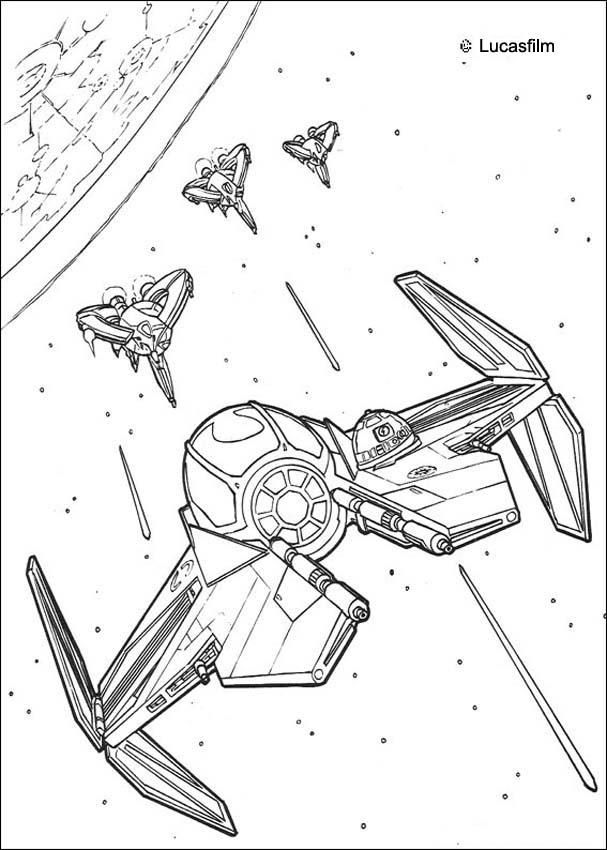 Spaceships war coloring page