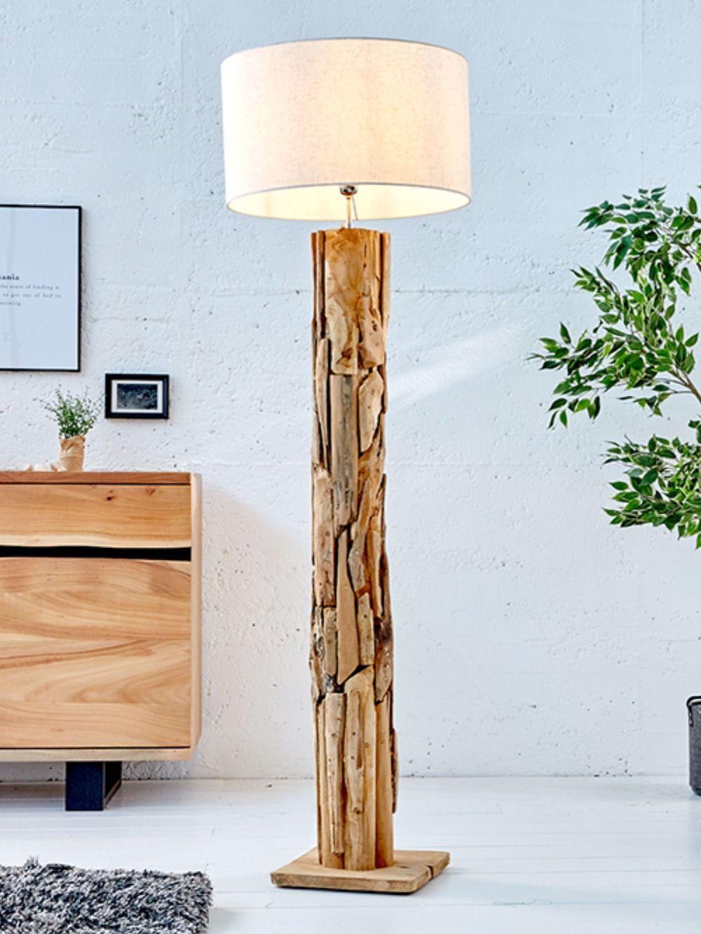 Hohenverstellbare Teakholz Stehlampe Roots 175cm Beige Treibholz Lampe In 2020 Wood Floor Lamp Floor Lamp Lamp