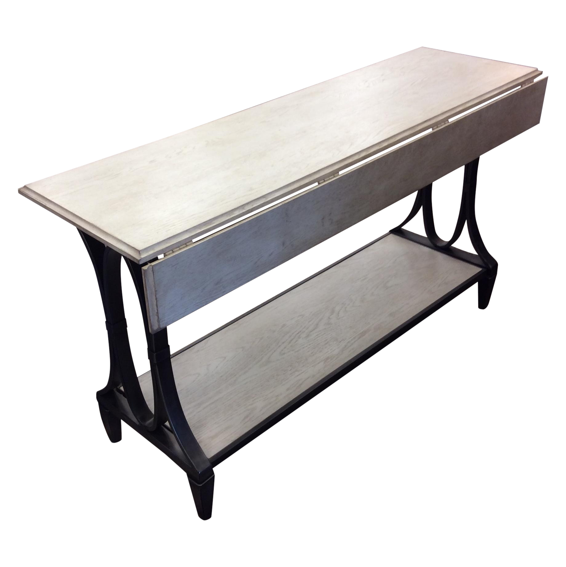 New Industrial Drop Leaf Console Table White Wash Wood With Metal
