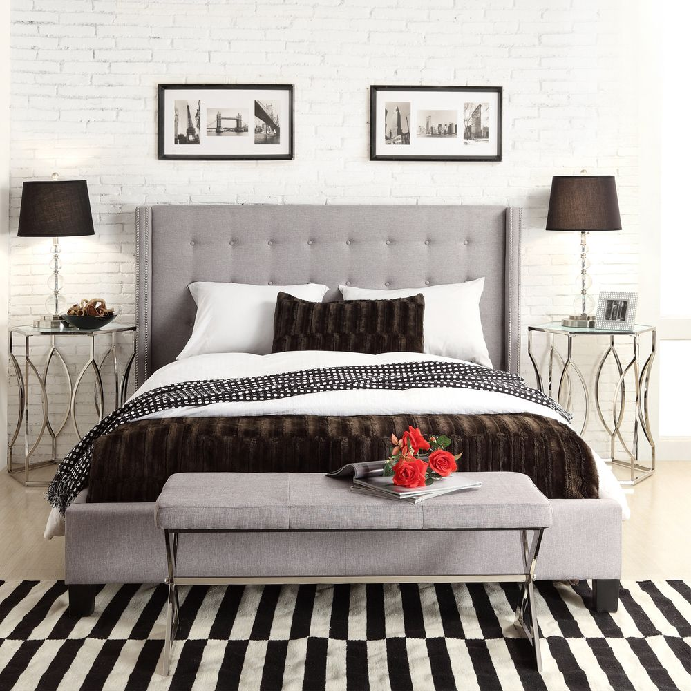 INSPIRE Q Marion Grey Linen Nailhead Wingback Tufted Upholstered Bed |  Overstock Shopping - Great