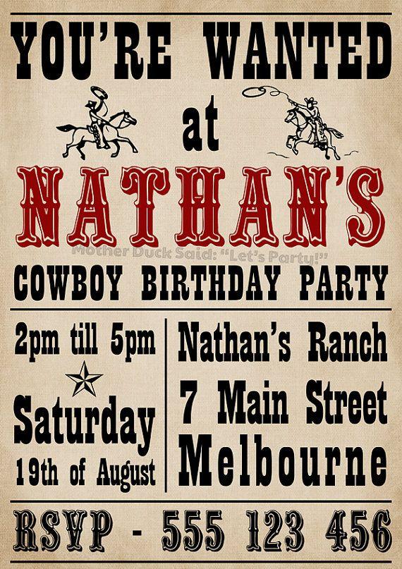 cowboy invitation wanted poster 3 and 5 pinterest cowboy
