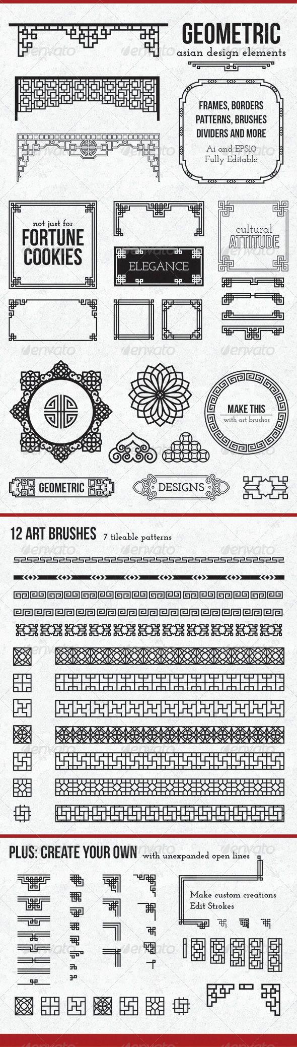 Geometric Asian Design Elements   Contexto, Mandalas y ...