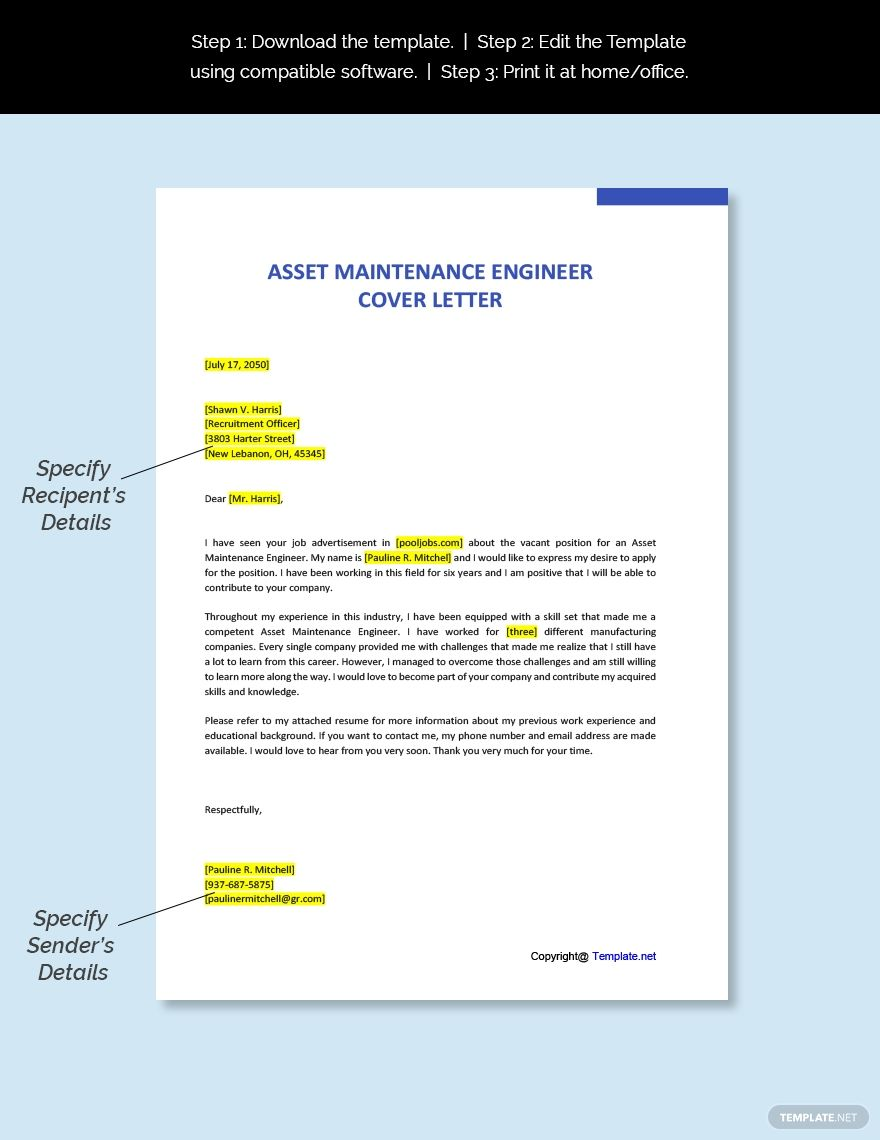 Free Asset Maintenance Engineer Cover Letter Cover Letter