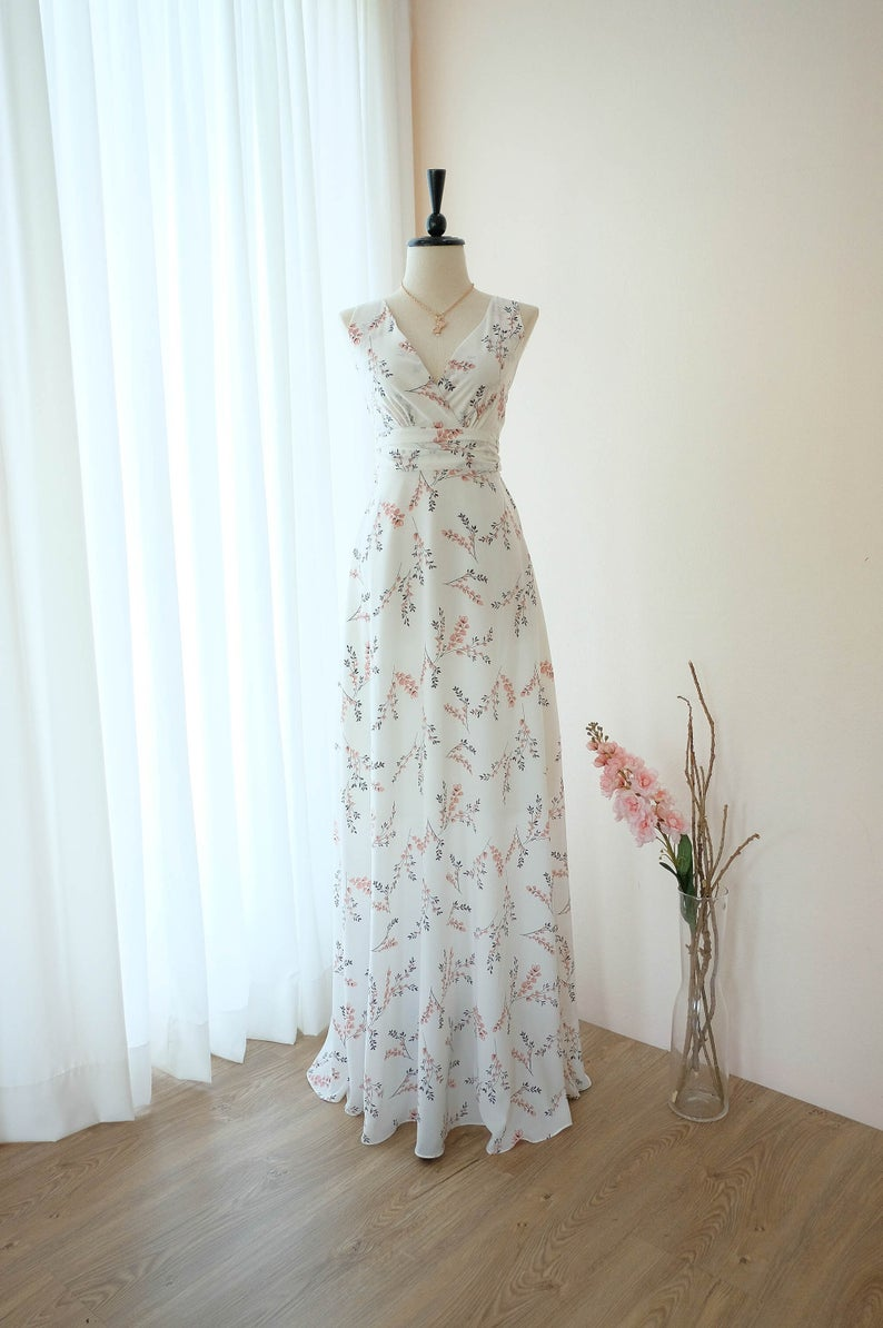 French Countryside White Floral Print High Low Dress Guest Attire Wedding Attire Guest Spring Wedding Guest Dress