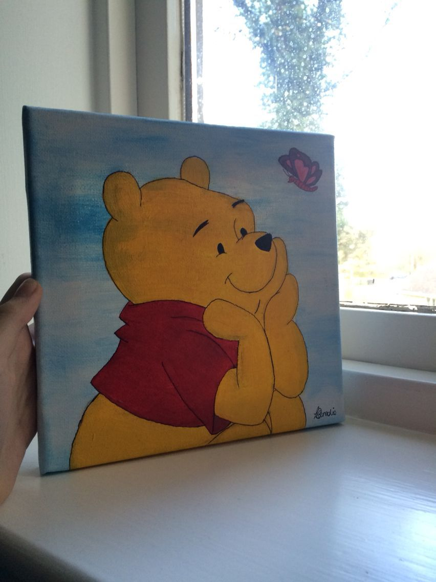 Image Result For Easy Acrylic Painting Ideas For Beginners On Canvas Winnie The Pooh Disney Canvas Art Cartoon Painting Disney Canvas Paintings