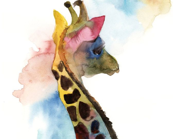 Giraffe Painting Colourful Giraffe Original Watercolor Painting