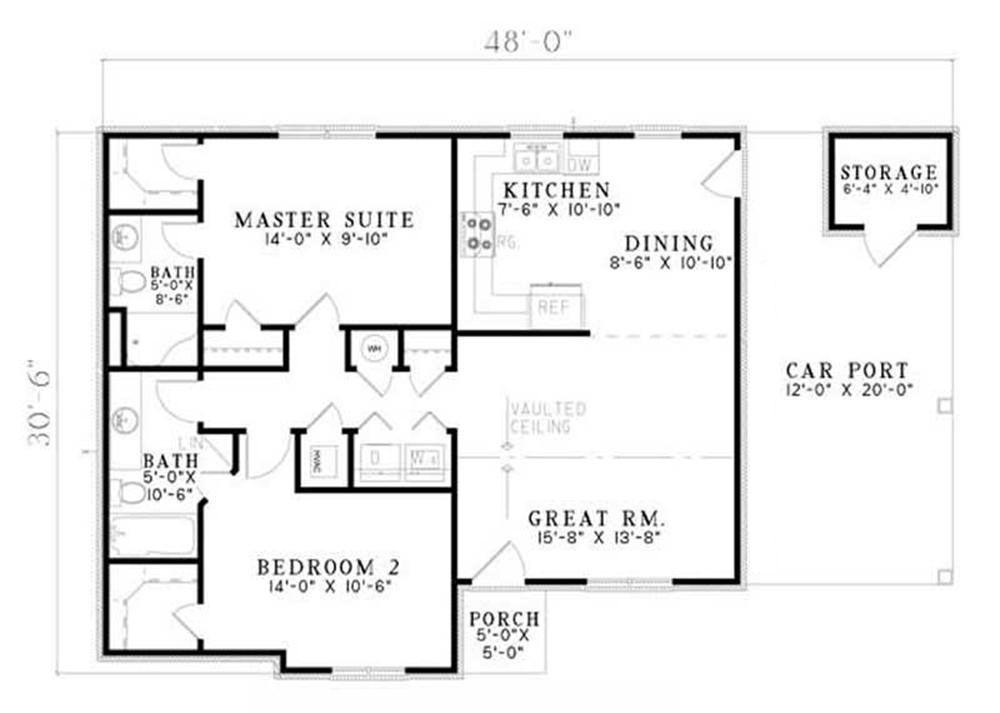 2 Bedrm 1008 Sq Ft Ranch House Plan 153 1795 Diy House Plans House Plans Floor Plans