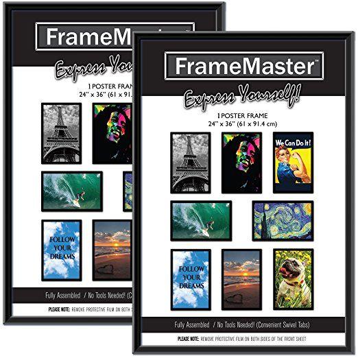 Framemaster 24x36 Poster Frames 2 Pack Pre Assembled With Sturdy Mdf Backer Board 24x36 Poster Frame Poster Frame Frame
