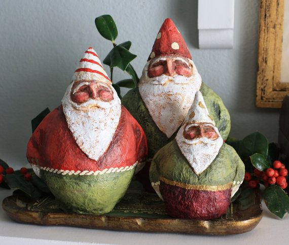 Gnome like santas in paper mache 39 by santasbygretchen on for Paper mache christmas