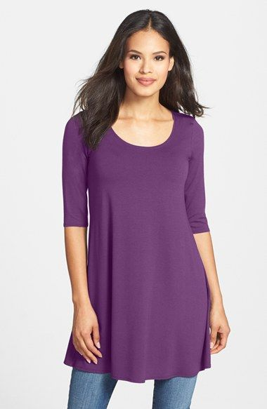 Eileen Fisher Scoop Neck Elbow Sleeve Jersey Tunic (Regular & Petite ...
