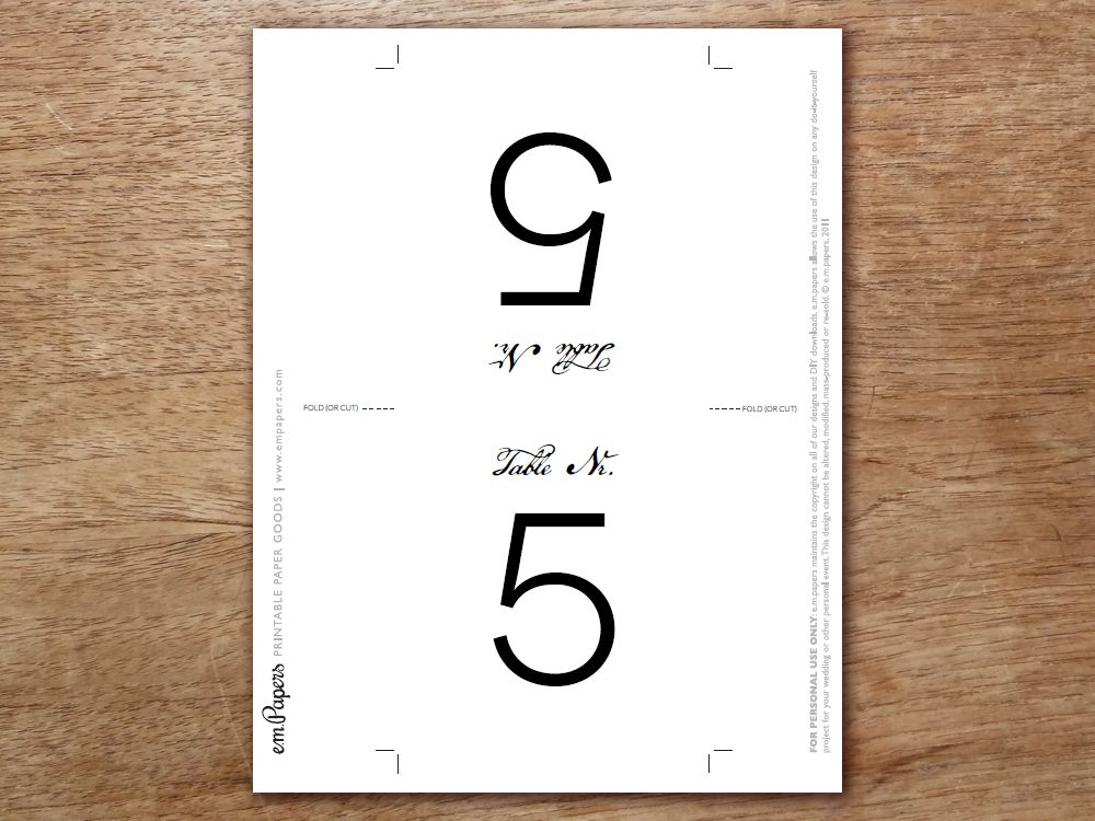 Printable table number calligraphy monogram table numbers
