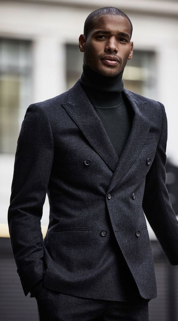 newest dcdc7 5dd8c All black ensemble from  reiss with a black turtleneck black double  breasted blazer black trousers. model unknown.  fallfashion  falloutfits   menswear ...