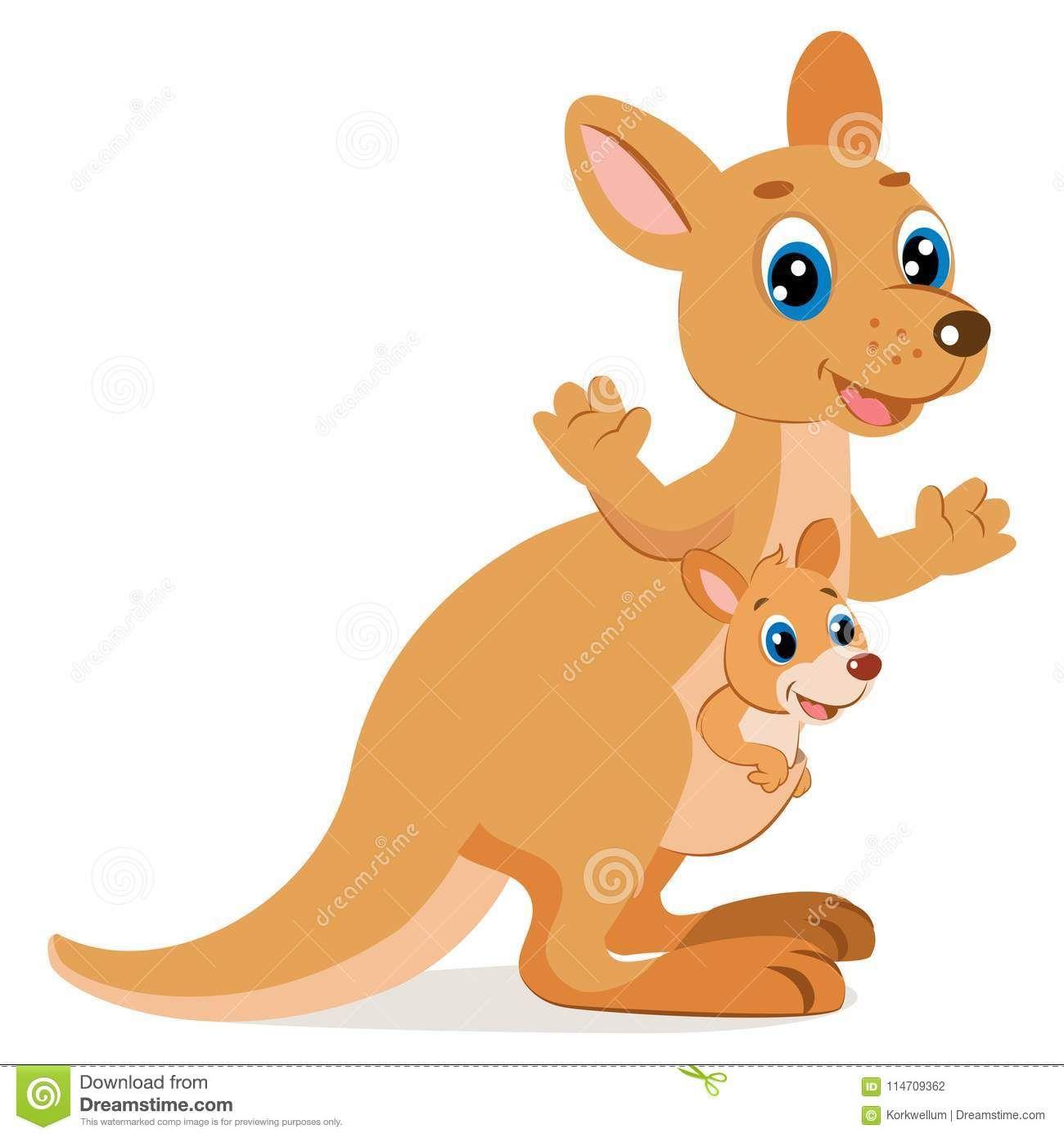 Wallaroo Encounter Cartoon Animals Vector Mother Kangaroo With Her Cartoon Animals Cute Animal Drawings Cute Animal Videos