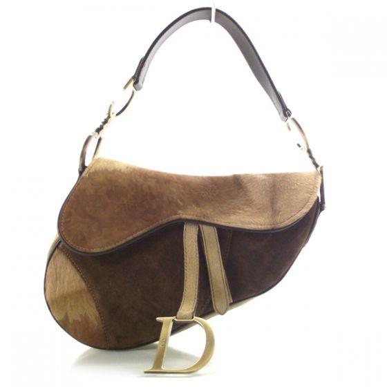 CHRISTIAN DIOR Pony Hair Suede Saddle Bag  a7b18d9416298