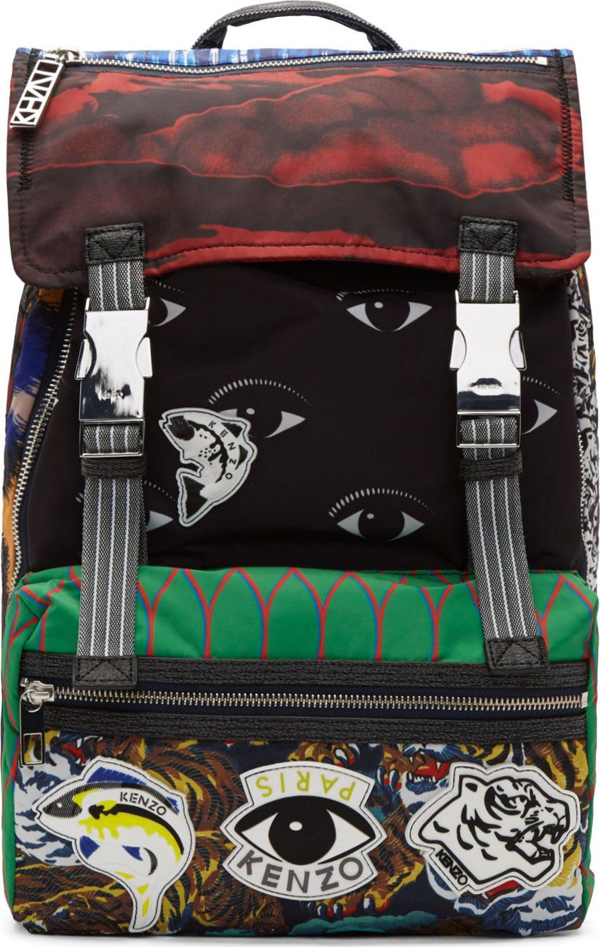 Kenzo Green Multicolor Mixed Signature Print Backpack Signature Print Accessories Bags Shoes Kenzo