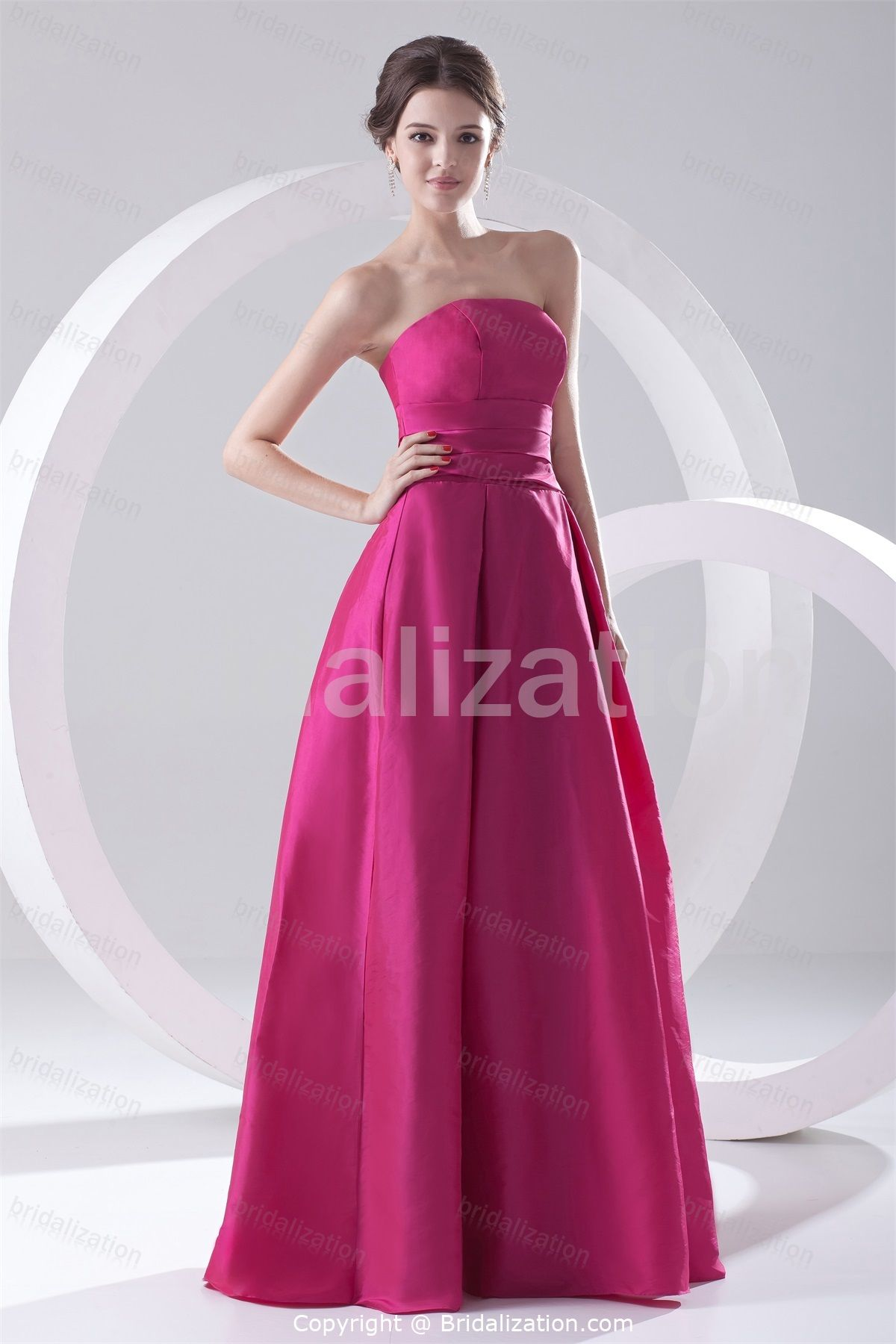 fall bridal party pictures%0A Fuchsia FloorLength Taffeta Strapless Fall Bridesmaid Dress
