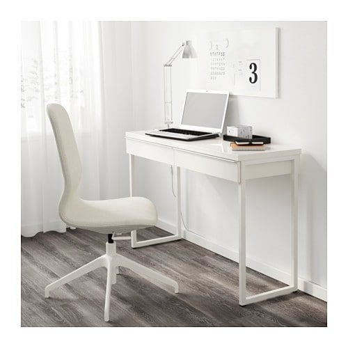 BESTÅ BURS Desk - high gloss white 47 1/4x15 3/4