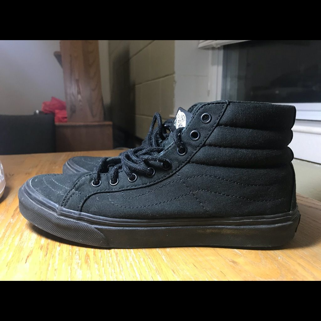 cheap all black vans size 8