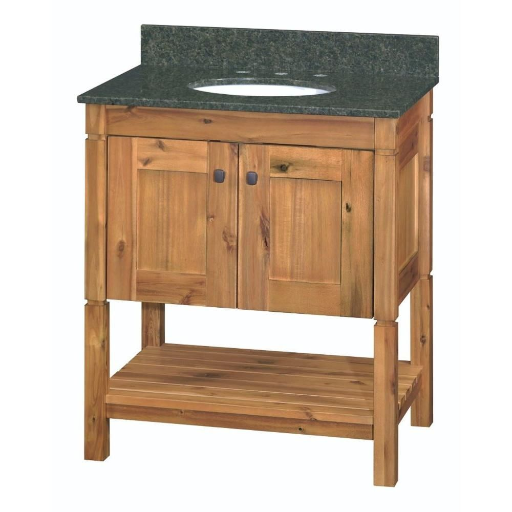 Home Decorators Collection Bredon 31 In W X 21 In D Bath Vanity In Rustic Natural With Granite Vanity Top In Uba Tuba 19cvbcu3122 The Home Depot Rustic Bathroom Vanities Granite