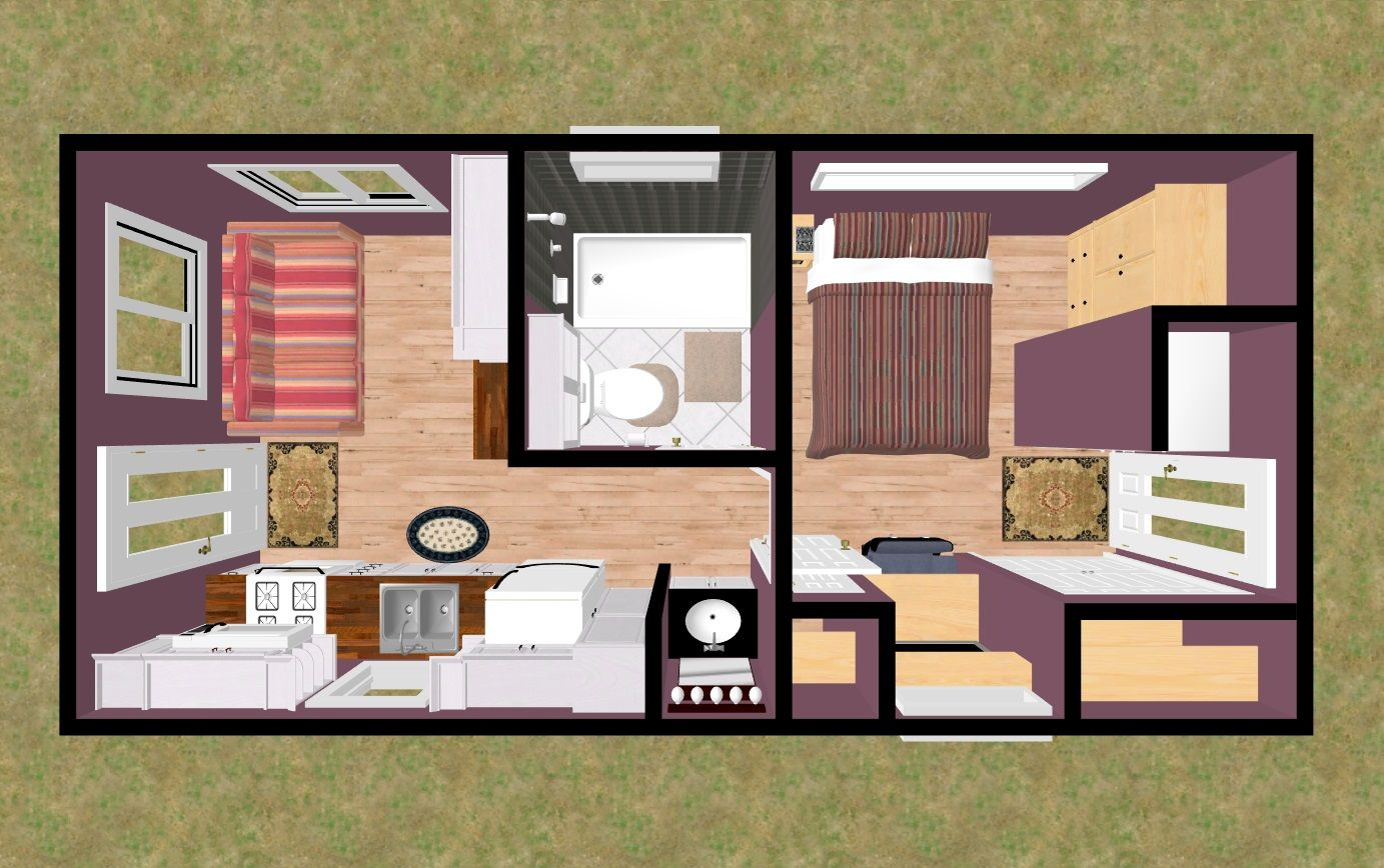 The Top View Of Cozy S 300 Sq Ft Plan I M Calling Kit Caboodle