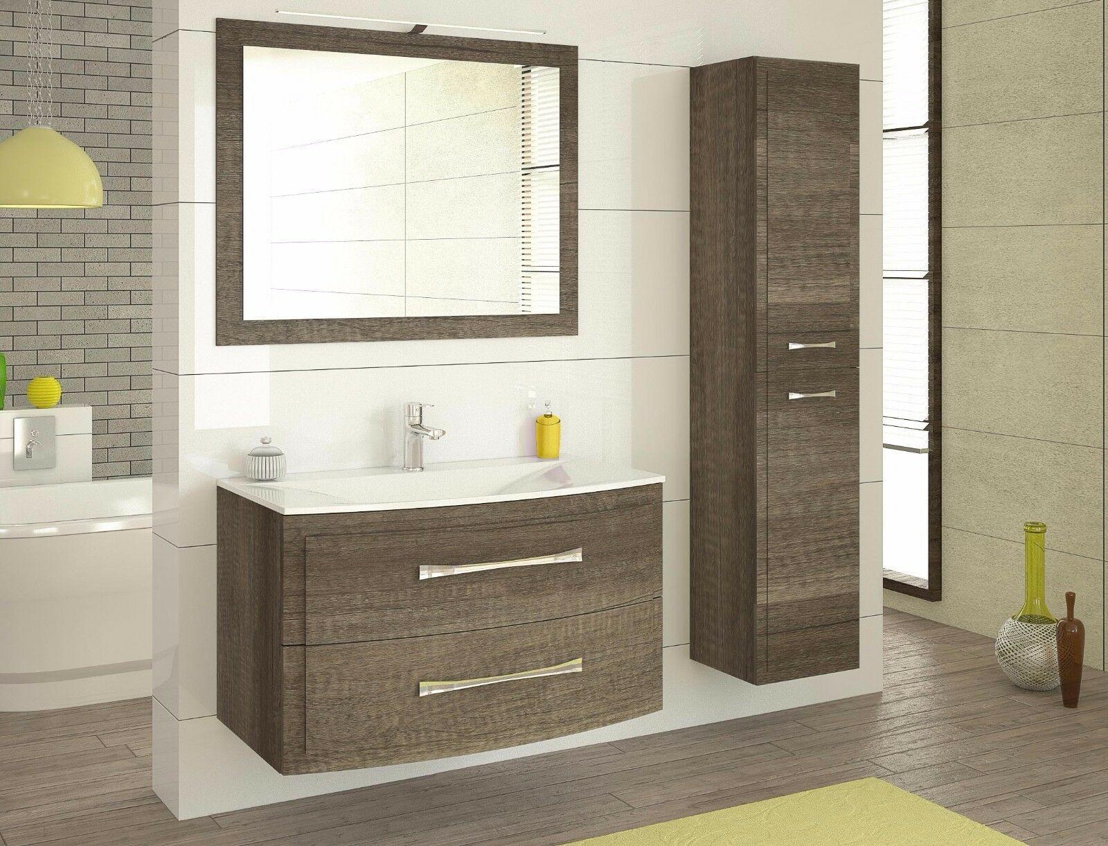 Badmobel Set Luna Eiche Karbon Badezimmer Mobel Badset Mit Waschbecken Led Badezimmermobel Ideen In 2020 Lighted Bathroom Mirror Bathroom Mirror Bathroom Vanity