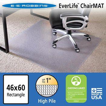 Es Robbins Chair Mat For High Pile Carpet 46 X 60 No Lip Clear Chair Mats Office Chair Mat Affordable Carpet Chair mats for high pile carpet