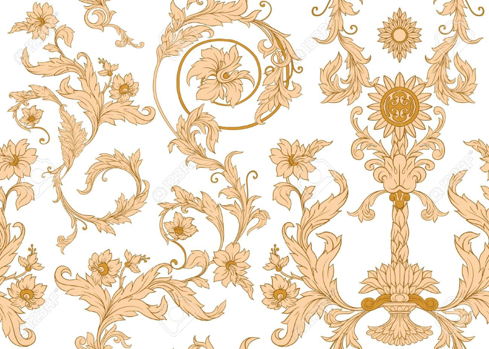 Seamless Pattern, Background In Baroque, Rococo, Victorian, Renaissance.. Royalty Free Cliparts, Vectors, And Stock Illustration. Image 134178849.