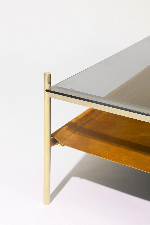 Duotone Rectangular Coffee Table Brass Frame Smoked Glass Saffron Suede [ 1500 x 1000 Pixel ]