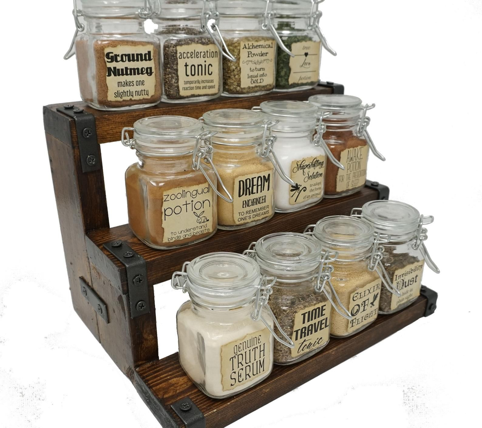 Magic Potions Spice Rack With 12 Glass Spice Jars Fantasy Etsy